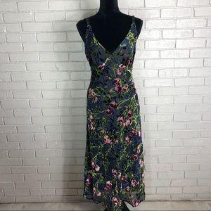 Wayf Sedona Bias Midi Dress in Navy Rose Size M